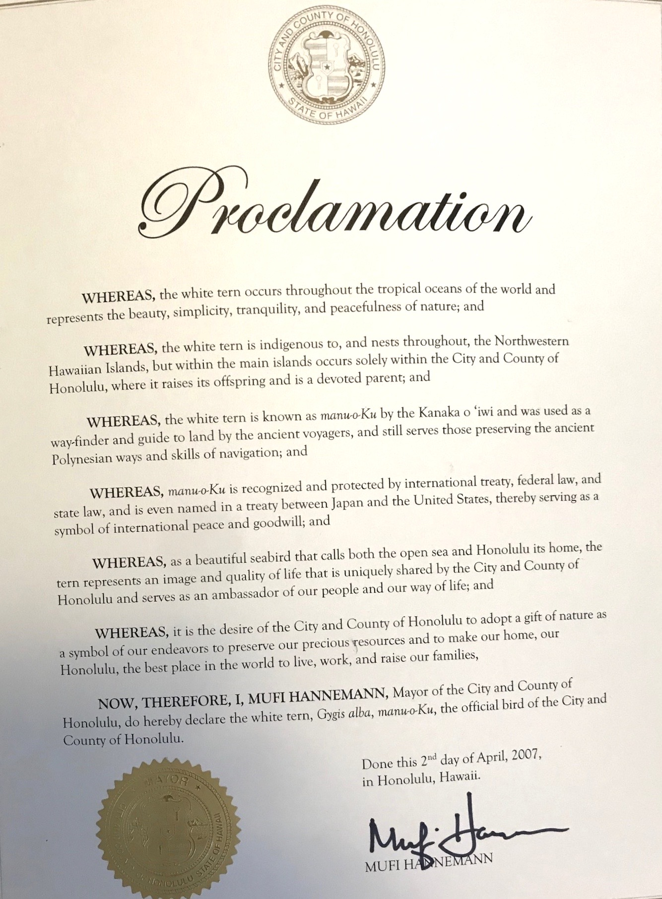 image of proclamation declaring official bird